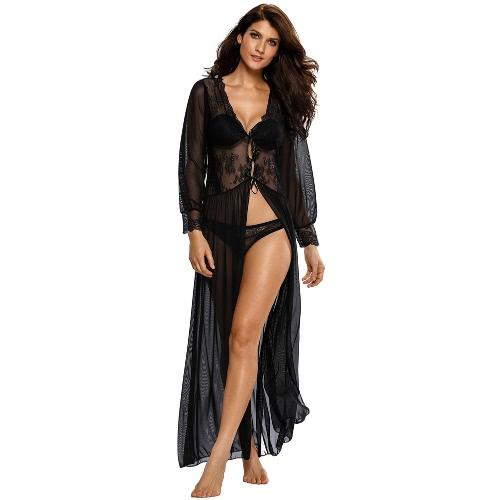 Sexy Frauen Bloße lange Spitze Robe-Wäsche-Kleid mit Blumen Ausgebogte mit V-Ausschnitt Mesh-Unterwäsche Nachtwäsche Nachtwäsche Schwarz