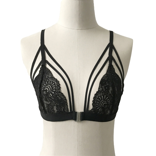 Mulheres Bralette Sheer Floral Lace Strappy Bandage Encerramento da frente Unpadded Wireless Exposed Lingerie Black / White