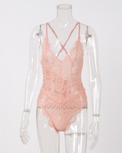 New Sexy Women Lingerie Bra One Piece Sheer Lace Wireless Strappy Adjustable Straps Underwear
