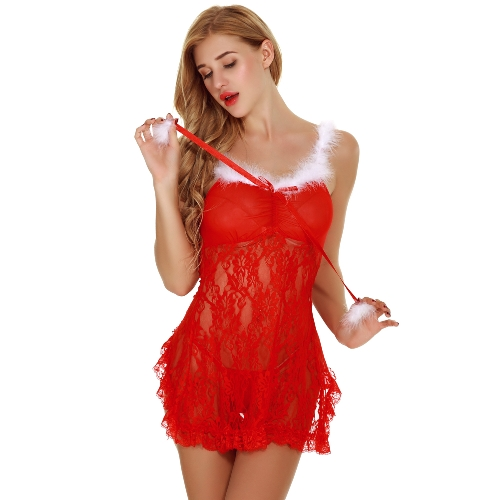Sexy Women Lingerie Nightwear Sheer Lace Babydoll Backless Spaghetti Strap Nightgown Sleepwear Dress G-String