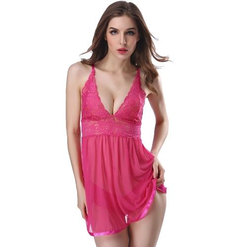 Ropa interior atractiva de las mujeres ropa interior del cordón de la muñeca Ropa interior ropa de dormir transparente bragas conjunto