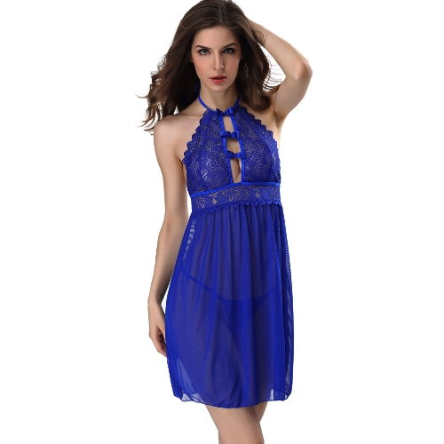 Sexy Women Lingerie Sleep Dress Semi-sheer Mesh Lace Sleepwear Nightgown Nightdress