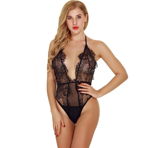 Mulheres Sexy Crochet Lace Lingerie Profunda V Alto Cut Backless See-through Nightwear Sleepwear