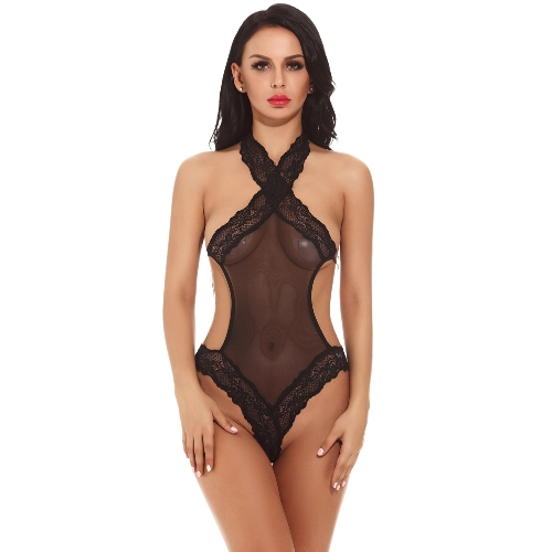 Women Erotic Lingerie Teddies Solid Transparent Mesh Lace Halter Sleeveless Open Back Sexy Bodysuit