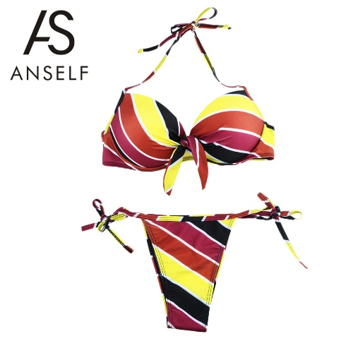 Nueva moda mujeres Halter Bikini conjunto contraste raya Underwire rellenado Copa Tie lado inferior traje de baño amarillo