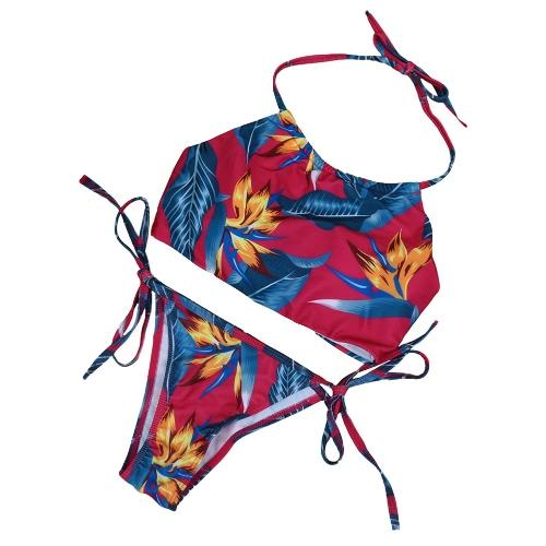 Sexy Floral Print Halter Padded Dwuczęściowy Kostium kąpielowy Zestaw Bikini dla Kobiet