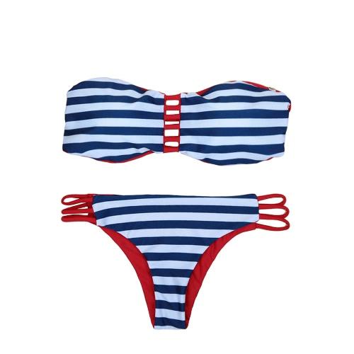 Sexy Kobiety bez ramiączek Bikini Set Kontrast Stripe Góra Dół Plaża Swimsuit Swimwear kostium kąpielowy Ciemnoniebieski