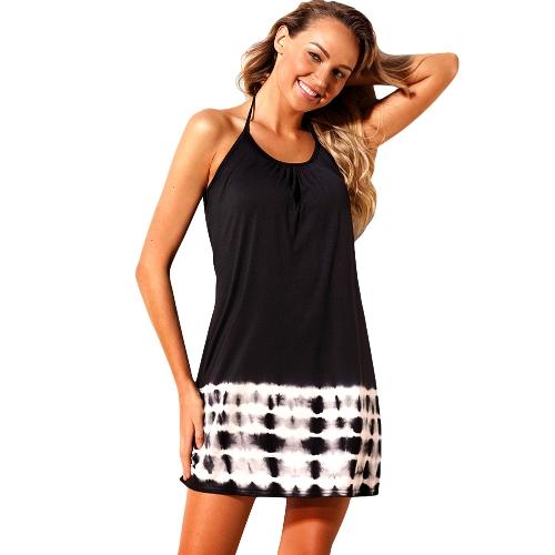 Frauen Sommer Cover Ups Strappy zurück Tie Dye aushöhlen Backless Bikini Cover Beachwear Schwarz / Pink