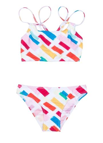Frauen Print Bikini Set Spaghetti Strap Push Up gepolsterter Badeanzug Bademode Badeanzug rot