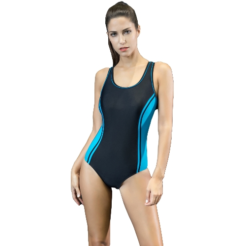 Frauen Einteiler Badeanzug Sport Farbblock Spleißen Push Up Racer Backless Sexy Training Monokini