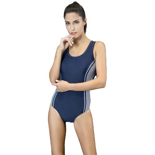 Femmes Une Pièce Maillot de Bain Sport Color Block Épissage Push Up Racer Backless Sexy Formation Monokini