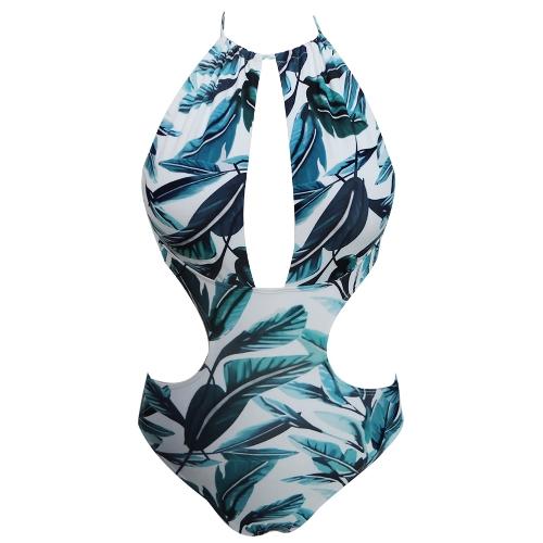 Mulheres Sexy Um Pedaço Swimsuit Mergulho Backless Swimwear Folha Impressão Acolchoado Monokini Push Up Maiô Azul / Verde