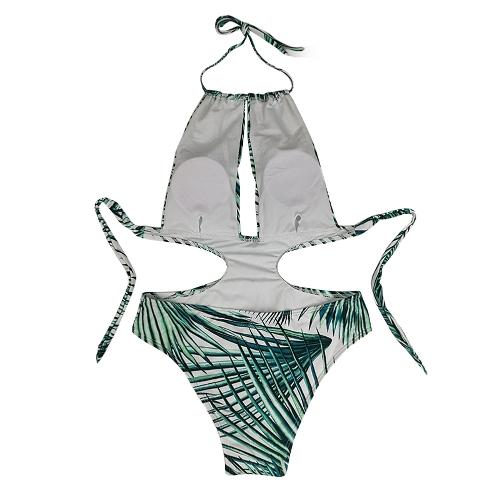 Sexy Women One Piece Swimsuit Plunge Backless Swimwear Leaf Print Padded Monokini Push Up Bathing Suit Blue/Green