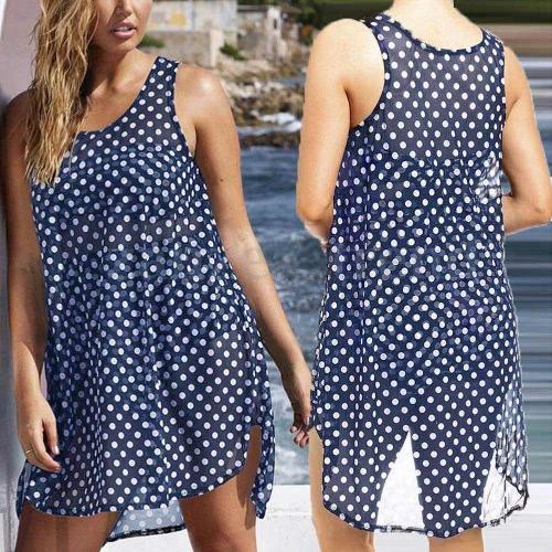 Nueva moda mujeres Bikini encubrimiento en traje de baño punto dobladillo asimétrico gasa transparente impresión ropa de playa azul