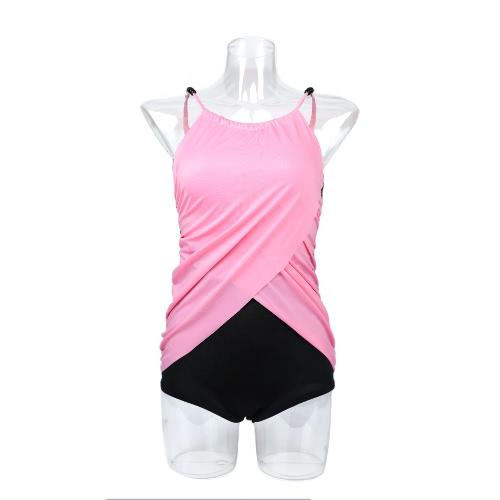 Nueva moda mujer vestido Triquini contraste sobre capa traje de baño traje de baño rosado de color caqui
