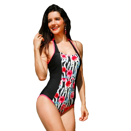 Sexy Women Floral Print Halter Swimsuit One Piece V Neck Backless Bodycon Beach Stroje Kąpielowe Czarne