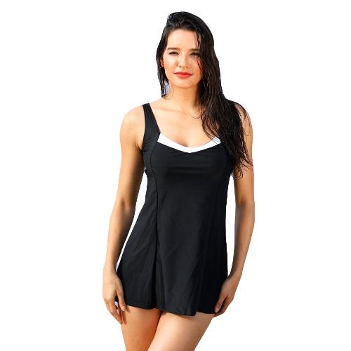 Sexy Women Bikini Set Contrast Splice Round Neck Bezrękawniki Tankini Beach Swimwear Black