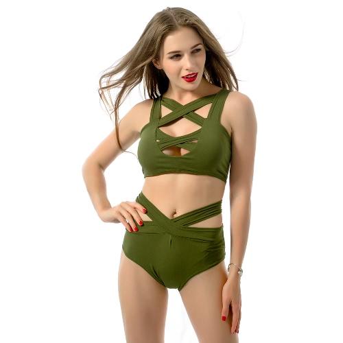 Sexy Frauen Bikini Set Schnitt vor tiefem V-Ausschnitt ärmellos hohe Taille unten Badeanzug rot/grün