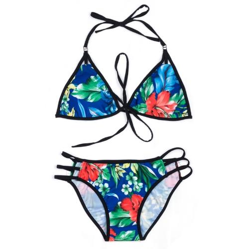Sexy Women Floral Print Bikini Set Halter Tie Kostium kąpielowy usztywniany Push Up Two Piece Swimwear Blue