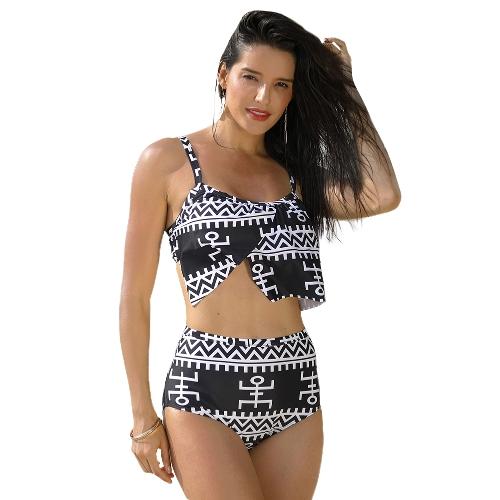 Nowe seksowne kobiety druku dwuczęściowy strój kąpielowy wyściełany bezprzewodowy strój kąpielowy Bodycon Beach stroje kąpielowe czarny
