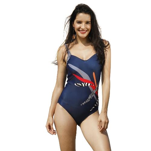 Mulheres Sexy One-Piece Swimwear Geométrica Impressão Sem Encosto Sem Mangas Estofamento Sem Fio Maiôs Maiôs Beach Wear