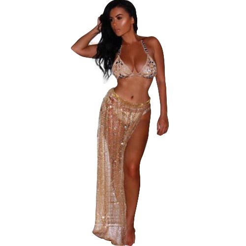 Mulheres Sexy Sheer Mesh Lantejoulas Praia Saia Dividir Cintura Alta Bikini Cover Up Swimsuit Saia de Ouro / Prata