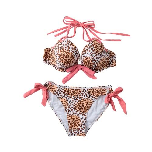 Mujeres sexy Bikini Halter conjunto Leopard impresión acolchado superior atar traje de baño traje de baño ropa de playa