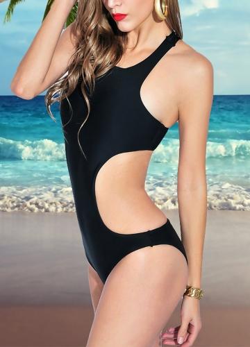 Sexy Women One-piece Swimsuit High Neck Backless Cutout Solid Monokini Swimwear Bathing Suit White/Black