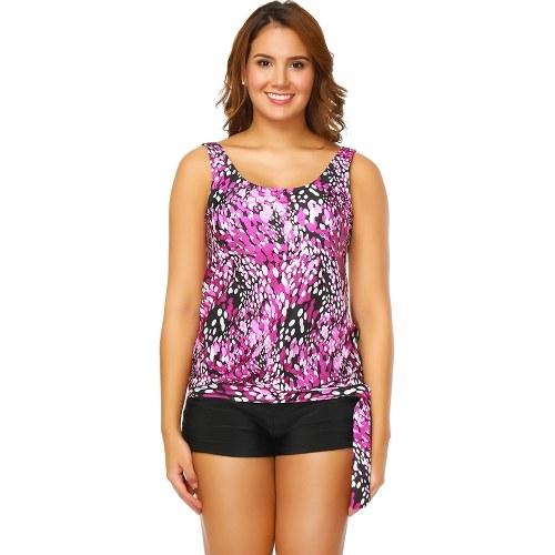Women Push Up Tankini Swimsuit Padded Swimwear Printed Plus Size Bathing Suit
