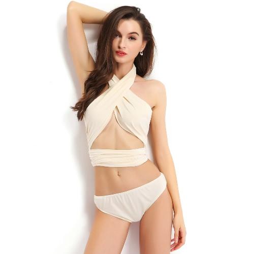 Hot Summer Frauen Zweiteilige Bikini-Satz Halter Criss Cross elastisches Taillen-Backless Strand-Verband-Riemchen Swimwear Badeanzug