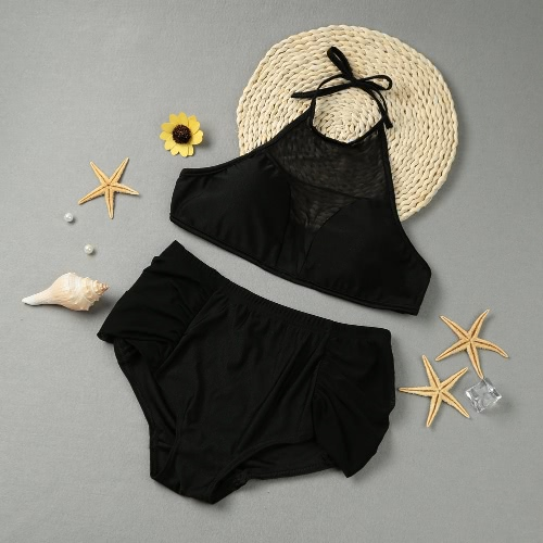 Mesh Halter High Neck Two Piece Swimwear