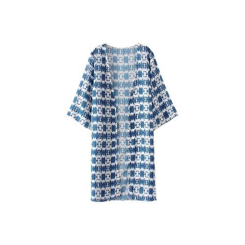 Las mujeres de la gasa de la playa cubre sube impresión de Split dobladillo delantero abierto de tres cuartos de las mangas de la cubierta del bikini azul kimono ropa de playa