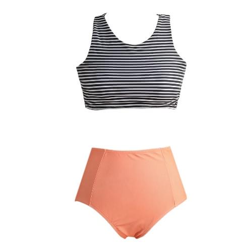New Sexy Mulheres Striped Bikini Set Push-up Swimsuit acolchoado duas peças praia Maiô Natação Preto