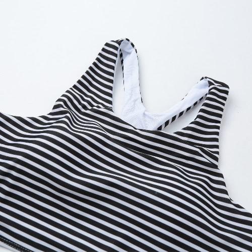 Sexy Women Striped Bikini Set Push-up Swimsuit Padded Two-Piece Beach Swimwear Bathing Suit Black, TOMTOP  - buy with discount