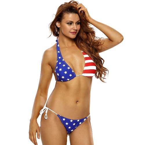 Nueva mujer sexy bikini de dos piezas de rayas de las estrellas Halter Tie Wireless Push Up Top con lazo de la correa inferior del traje de baño azul