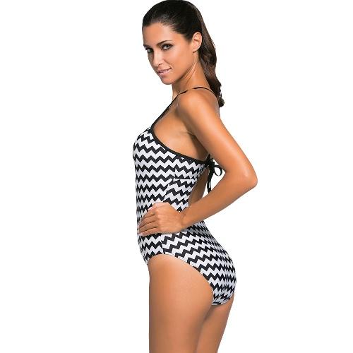 Sexy Women Monokini Halter Tie Strap Geometry Print Non-Underwire Bathing Suit Swimsuit Blue/Black1/Black2, TOMTOP  - buy with discount