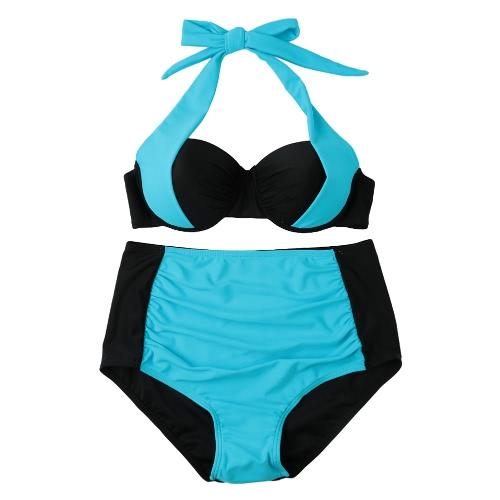 Bikiní de las mujeres atractivo contraste del bloque del color con aros Atado al cuello de talle alto inferior Traje de baño Traje de baño de playa de los trajes