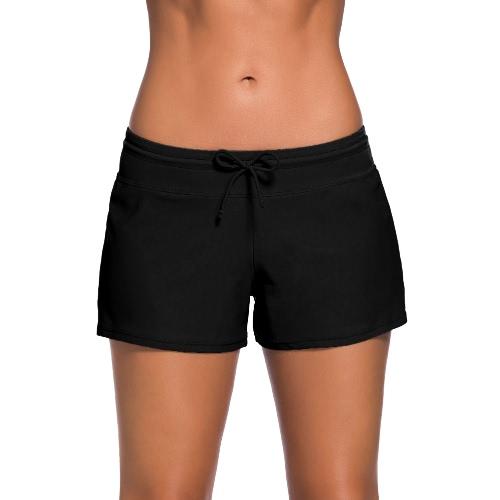 Mulheres Swim Boardshort Boardies cintura baixa com cordão de Split Hem desportiva Praia Calças Beachwear Swimwear