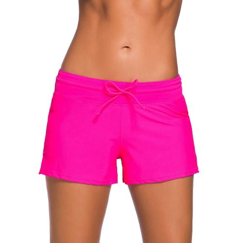 Pantalones de la nadada de las mujeres Boardshort Boardies bajo la cintura con cordón de Split Hem deportiva del beachwear del traje de baño