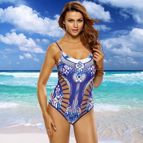 Nowe Seksowne kobiety Drukowane Strappy Wycięcie One Piece Swimsuit O Neck drutu bezpłatny Wyściełana Bikini Swimwear kostium kąpielowy niebieski