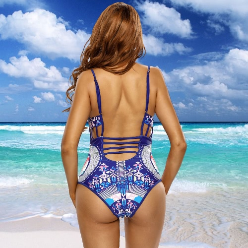 Sexy Women Printed Strappy Cutout One Piece Swimsuit O Neck Wire Free Padded Bikini Swimwear Bathing Suit Blue, TOMTOP  - buy with discount