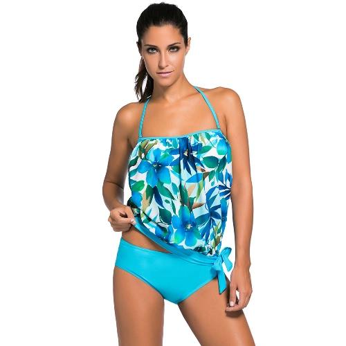 Las nuevas mujeres Tankini Set Bandeau bikini traje de tirantes desmontables acolchado natación de verano Traje