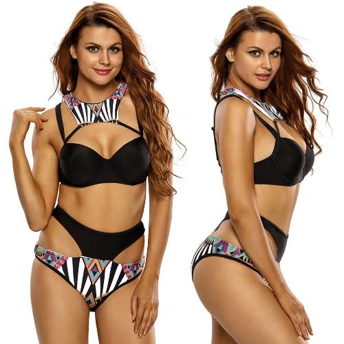 Sexy Frauen-Bikini-gesetzte Badebekleidung Badeanzug Cut Out Print Gepolsterte zwei Stück Badeanzug Schwarz Push Up