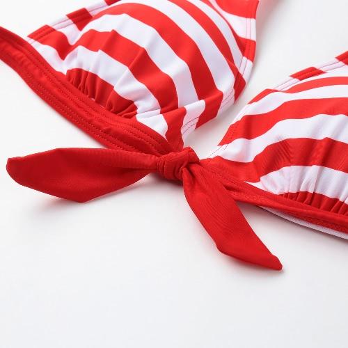 Sexy Women Bikini Set Swimwear Stripe Halter Top Push Up Padded Swimsuit Beachwear Bathing Suit Red/Blue/Black, TOMTOP  - buy with discount