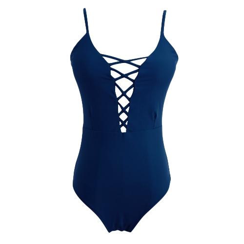 Nuevo atractivo de las mujeres de una pieza del traje de baño de la impresión floral ahueca hacia fuera acolchado vendajes sin respaldo baño bikini de Monokini