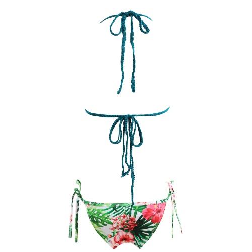Sexy Frauen-Bikini-gesetzte Badebekleidung Badeanzug Tie Neckholder gekräuselten Padded zwei Stück Badeanzug Bademode
