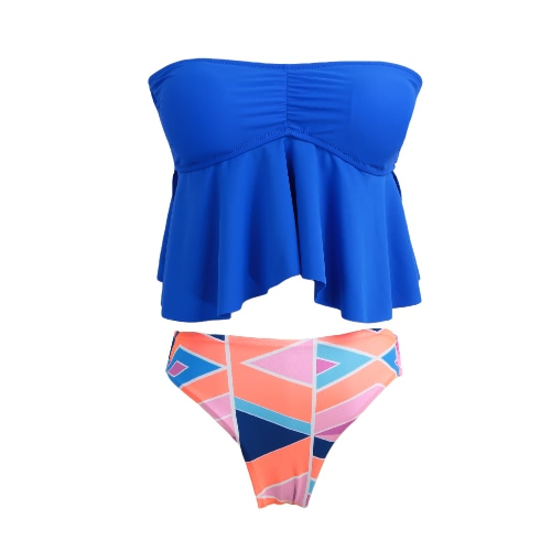 Nowe kobiety Bandeau Bikini Swimsuit Swimwear Tankini Set Top odpinane ramiączka usztywniany Plaża kostium kąpielowy Royal Blue
