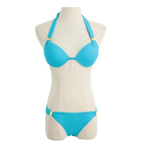 Sexy Bikini Mulheres Set Bandage franjada Halter Underwire Push Up Strappy Praia Swimwear Swimsuit Maiô laranja / azul