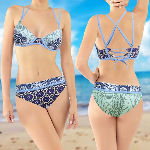 Sexy Women Bikini Set Floral Print Strappy Underwire Padded 3/4 Cups Bathing Suit Swimwear Swimsuits Two Piece Blue, TOMTOP  - buy with discount
