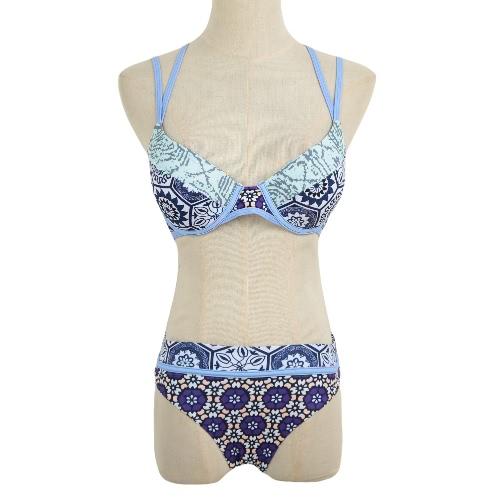 Sexy Frauen-Bikini-Set Blumendruck Riemchen Bügel Padded 3/4 Cups Badeanzug Bademode Badeanzug Zweiteiler Blau